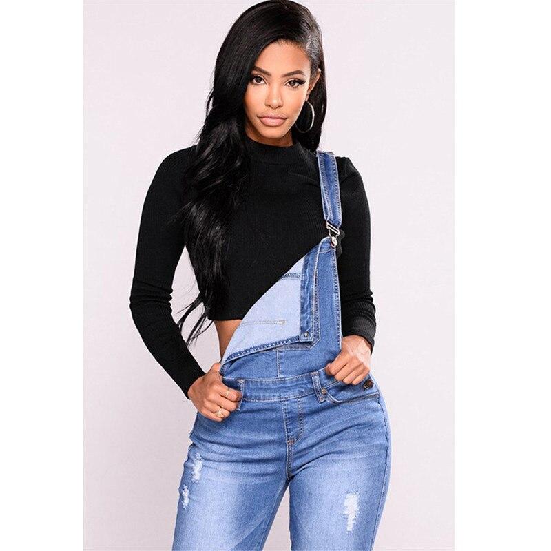 Autumn pants ladies pants suspenders jean women hole pencil pants new belt jeans spring 4