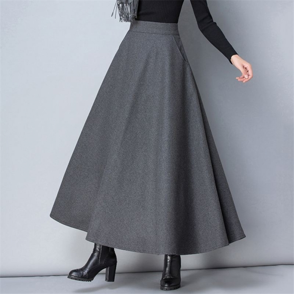 Feminine Informal Thick Heat Elastic A-Line Maxi Skirts
