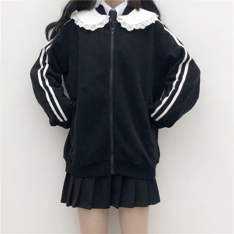 Japanese Preppy Style Sweet Soft Girly Black Zip JK Women Jacket 2020 Autumn Cardigan Peter Pan Collar Full Sleeve Ladies Coats 3