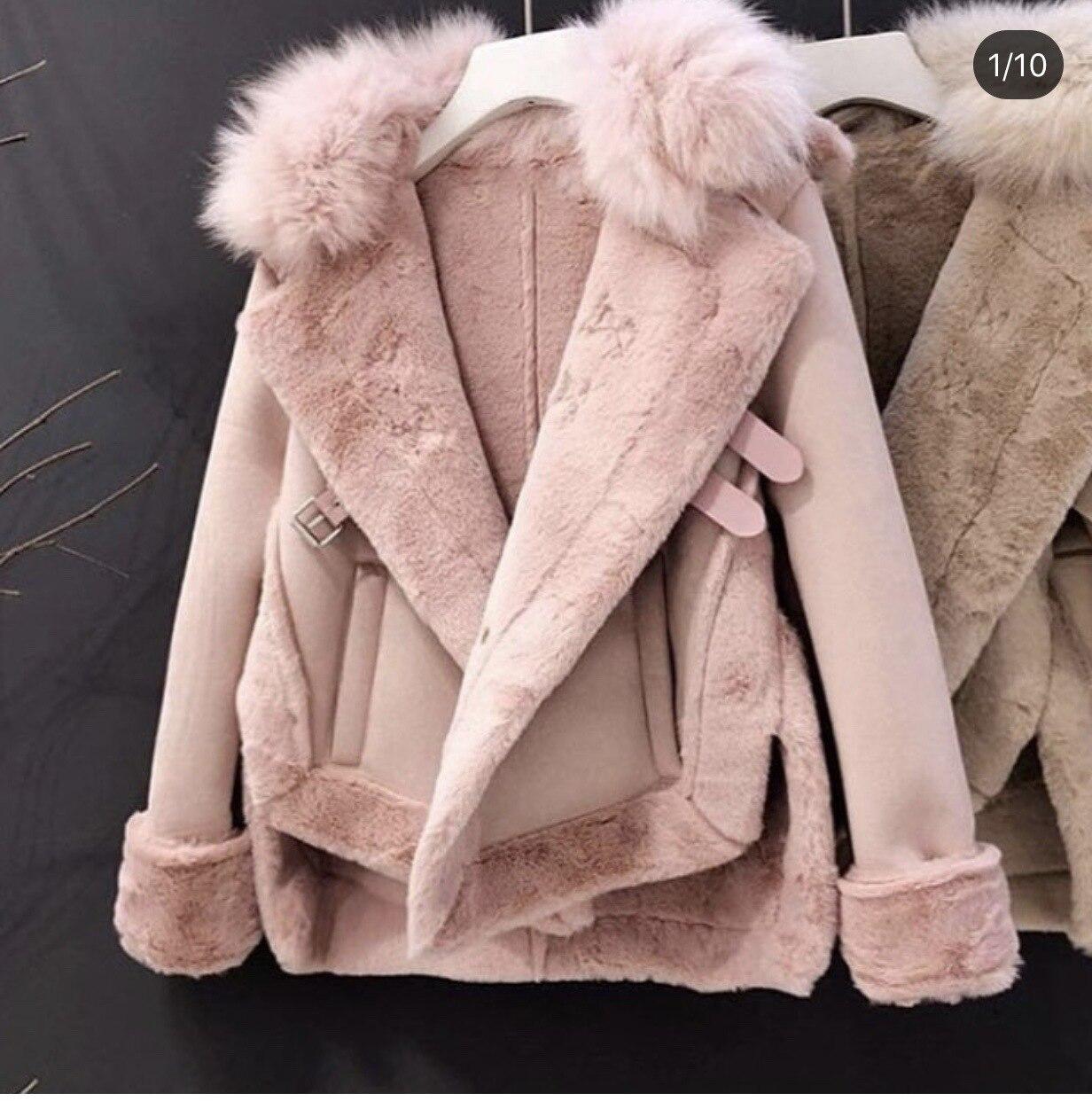 2019 Winter Women Jacket Artificial Wool Leatherette Female Wadded Coat Warm Slim Fleece Thicken Mujer Jacket Fur Neck Women Top 4