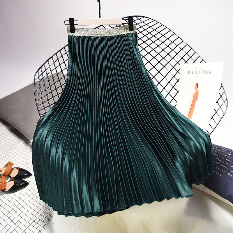 Qooth 2020 Winter Women Elegant Pleated Skirt Elastic Waist Women Long Skirt Female Autumn Ladies High Quality Midi Skirt Saia 3