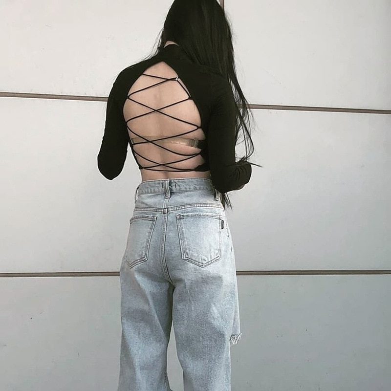 Light Blue Ripped Jeans Women Straight Leg Denim Pants Ladies Knees Ripped Destroyed Loose Fit Washed Boyfriend Jeans Trousers 4