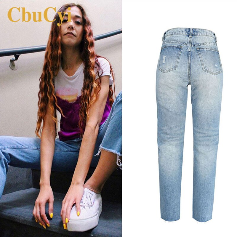 Women High Waist Jeans Pants Blue Soft Cotton Denim Pants Trousers Women Washed Ripped Hole Beggar Straight Jeans Cropped Pants 3