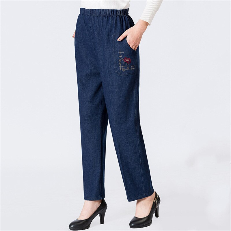 Mom Jeans Blue Loose High Waist Jeans 2019 New Spring Korean Embroidery Pockets Mid-aged Women Straight Jeans Chic Clothing JD47 3