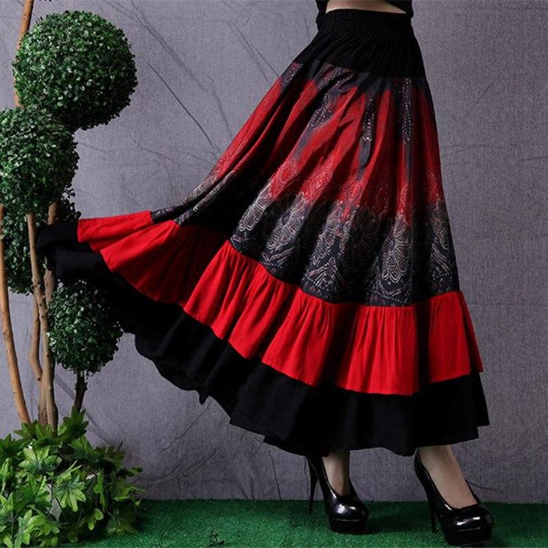Ethnic Style Women's Long Skirt Stitching Fashion Elastic Waist Skirt Retro Large Size Dance Skirt Women Saia Mujer Faldas f2682