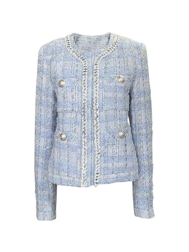 Tweed Fashion 2020 Koreans Women Coat Vintage O-Neck Long Sleeve Sliver Button Slim Woman Jacket Outerwear Chic Tops 3