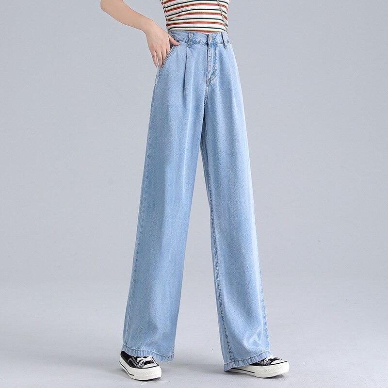 Woman Baggy Jeans High Waist Slim Thin Loose Straight Tencel Wide Leg Pants Mom Jeans Fall 2020 Women Cargo Pants Women 3
