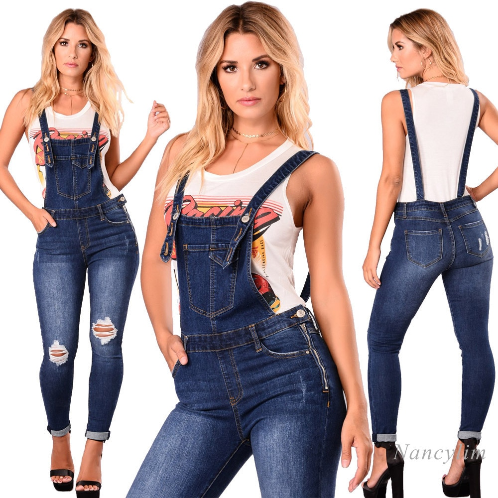 Loose Overalls Jeans Women 2020 New European and American Ripped Lace Jeans Pants Lady Casual Shoulder Strap Denim Pants 1