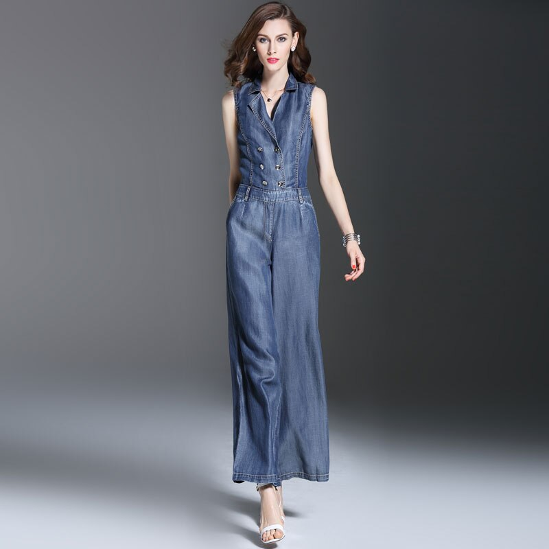 Summer Spring Fashion Womens Double Breasted Sleeveless Jumpsuits , Overalls , Casual Female Wide Leg Jeans Jumpsuit For Women 4