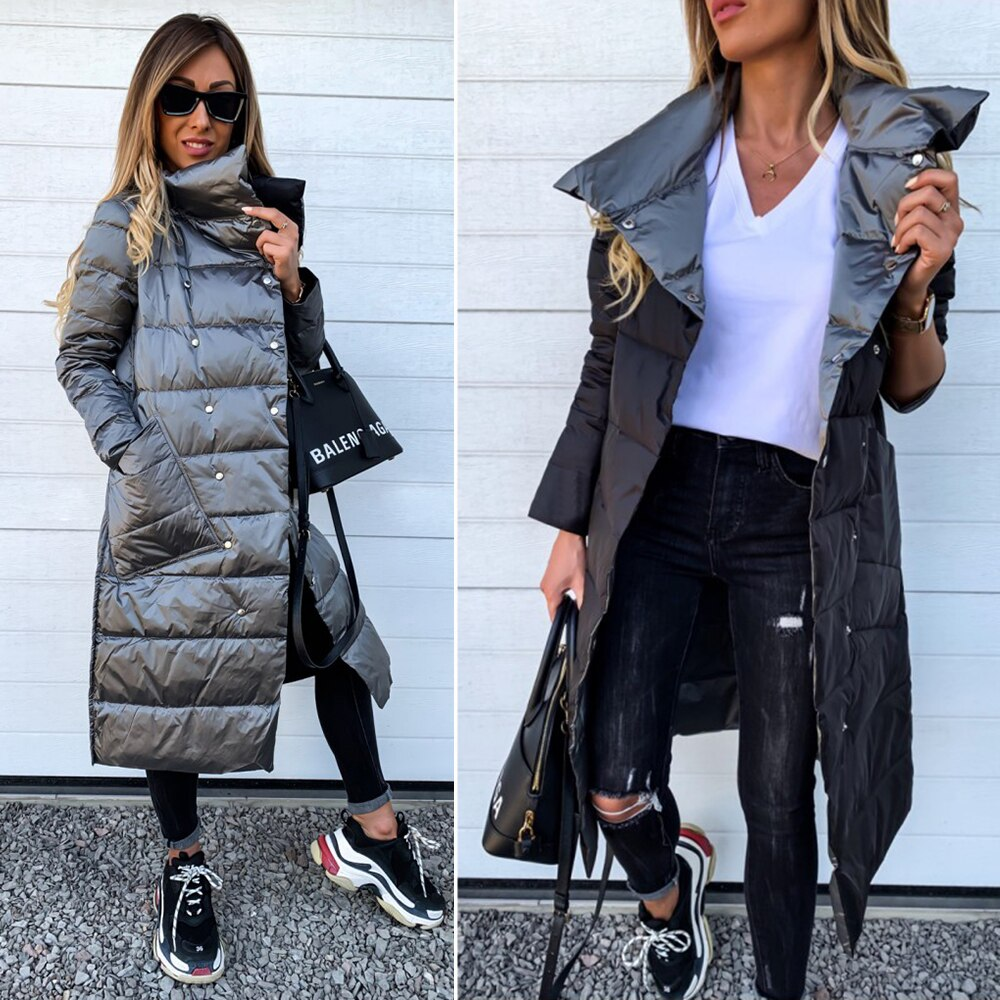 Winter Jacket Women Double-Sided Cotton Clothing Woman Jackets Winter Solid Puffer Jacket Overcoat Abrigos Mujer Invierno 2019