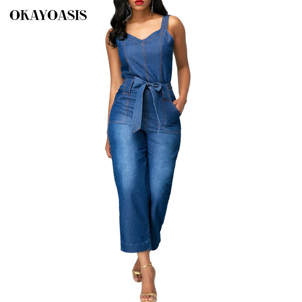 OKAYOASIS Jeans Jumpsuits for Women Loose Denim Overalls 2018 Summer Combinaison with Pockets Enteritos Female 1