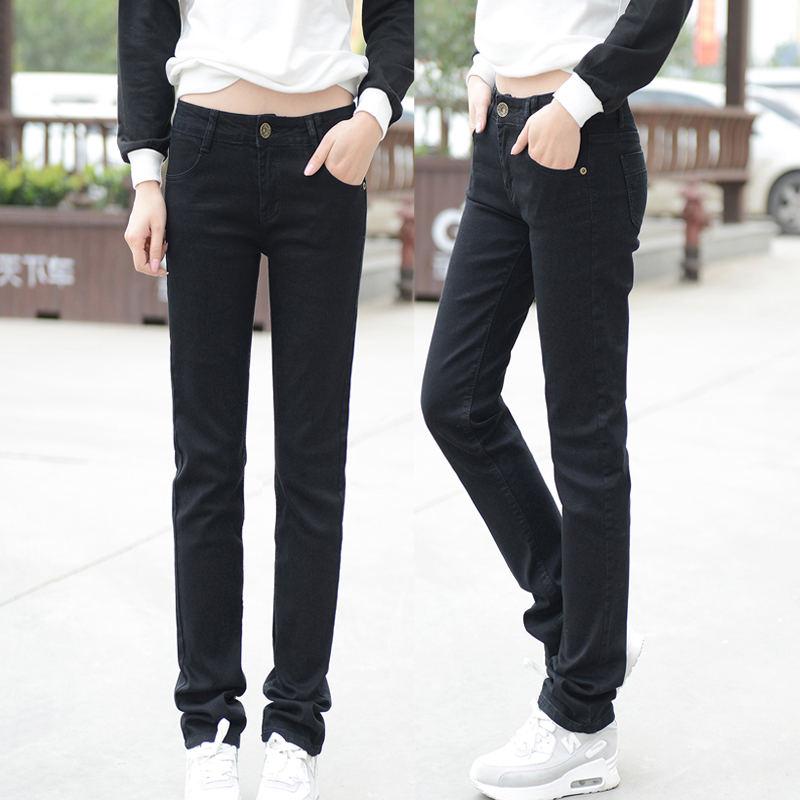 Autumn Winter Plus Velvet Straight Jeans Woman Plus Size Loose Thicken BF Style Black Long Pants Women Denim Jeans Mujer C4977 4