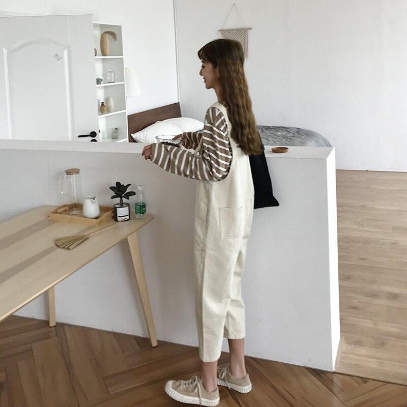 2020 Summer Women Cotton Loose Waist Straight Adjustable Shoulder Straps Washed Hole Ankle-Length Jeans Overalls K20 4