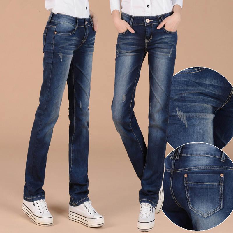Autumn Winter Plus Velvet Straight Jeans Woman Plus Size Loose Thicken BF Style Black Long Pants Women Denim Jeans Mujer C4977 3