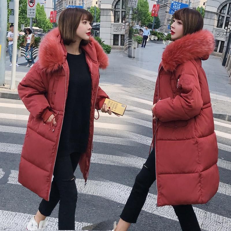 Women's Down Jacket Fur Hooded Thicken Zipper Long Down Coats Women Casual Solid Long Sleeve Warm Cotton Coats Female Jackets 4