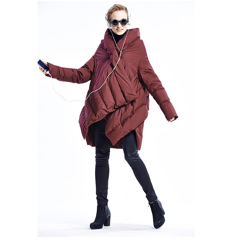 2020 New Fashion Women's Down Jacket Cloaks European Designer Asymmetric Length Winter Coat Female Parkas plus size outwear 4