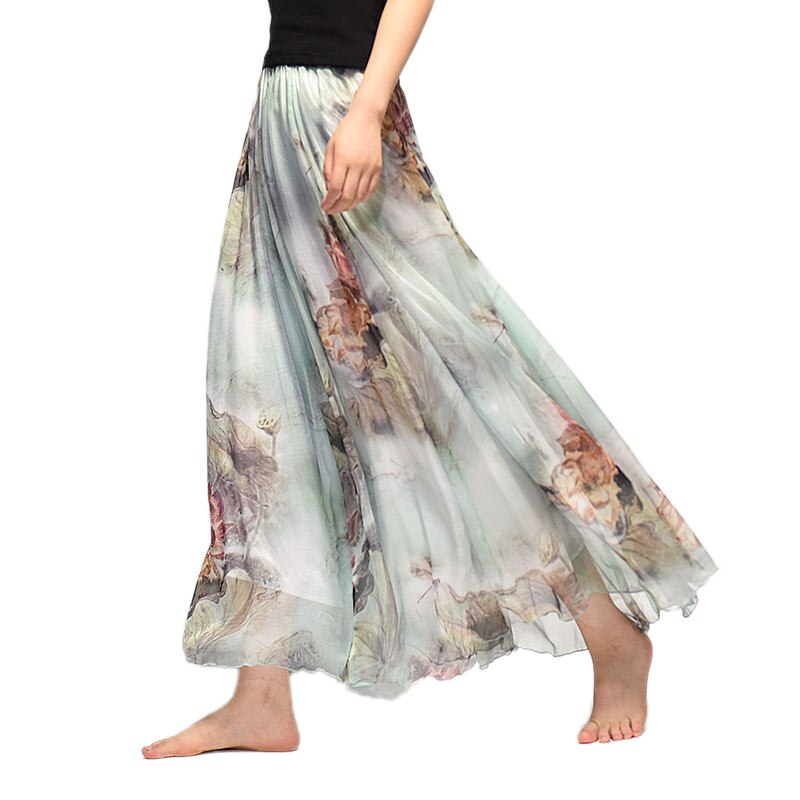 Elegant Summer Bohemian Maxi Skirts Women Long Skirt Chiffon Saia Beach High Waist Tutu Casual Vestidos Harajuku Print Clothes 1