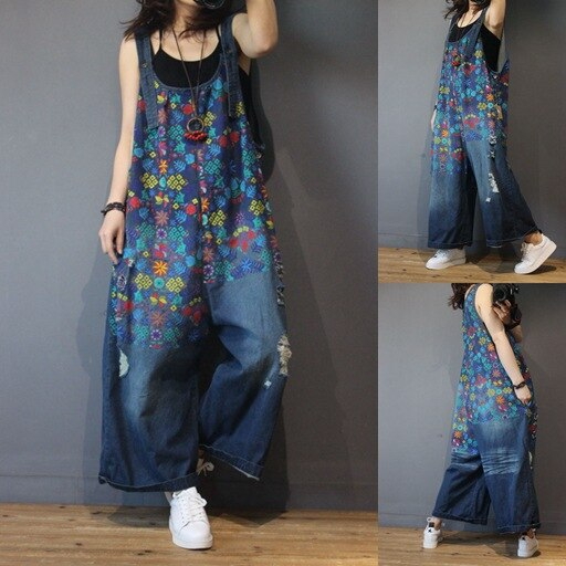 Girls Denim Overalls Print Floral Classic Plus