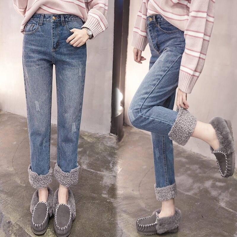 Plus Size 3XL Warm Winter Jeans Women Lambs Wool Stitching High Waist Jeans Woman Plus Velvet Straight Jeans Denim Pants C5949 4