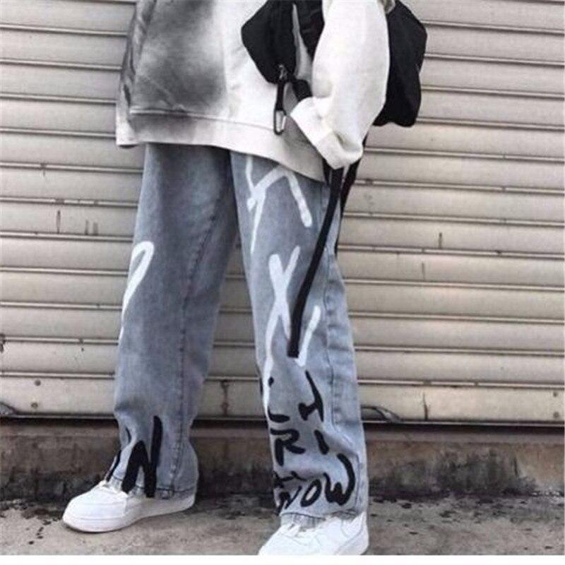 Cute Blue Jeans Women Streetwear Straight Jean Female Summer Cotton Cargo Pants Streetwear Loose Cool Harajuku Oversized Jeans