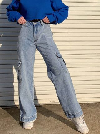 Straight Leg Cargo Denims Pants Girls Excessive Waist