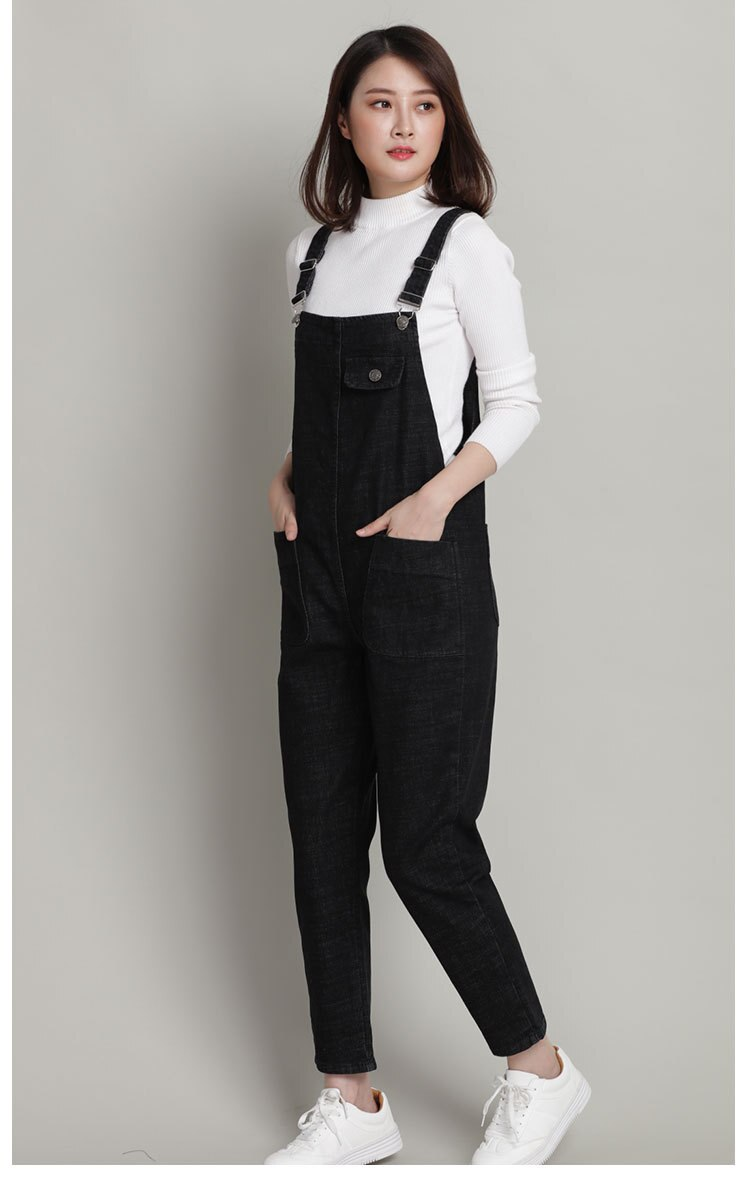New Spring Autumn Fashion Brand Plus Size L-6XL Jeans Loose Casual Full Length Overalls Big Size Denim Pants Woman Jumpsuits D28 1