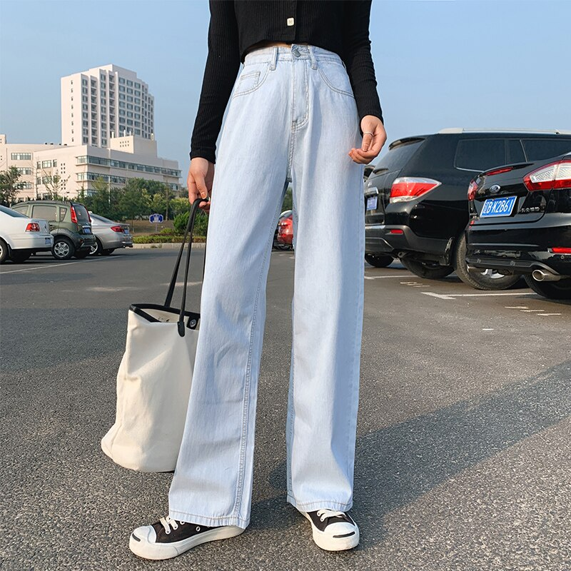 Women Fashion Spring and Autumn Wide Leg Jeans Straight Stretch Thin Korean Version Large Size High Waist Jeans Full-length blue