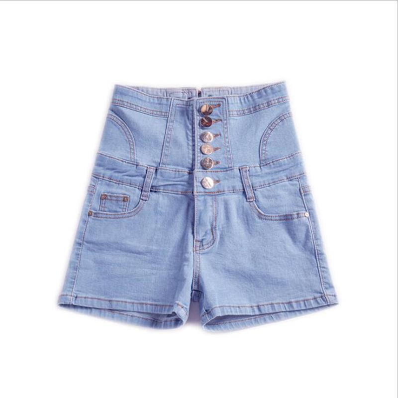 2019 new hot sale women's spring summer casual straight jeans shorts ladies big yards elastic high waist denim shorts S-5XL 4