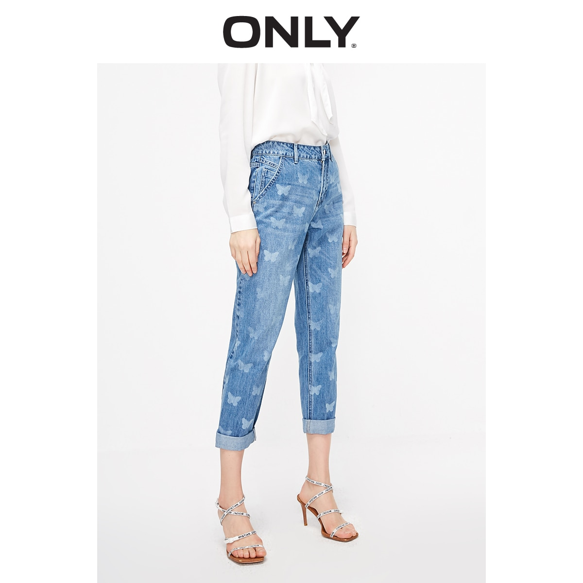 ONLY Women's Loose Straight Fit Low-rise Printed Crop Jeans   119149572 1