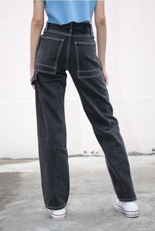 Jeans Women Loose Pants High Waist Pants Brandy Melville Women Straight Pipe Jeans Denim Pants Trousers Stretch Jeans Dropship 4