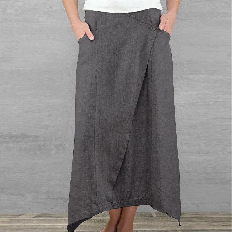 2020 Summer Women Linen Long Skirts Casual Loose High Waist Maxi Skirts Asymmetrical Hem Skirt Jupe Saia Femme Plus Size 2