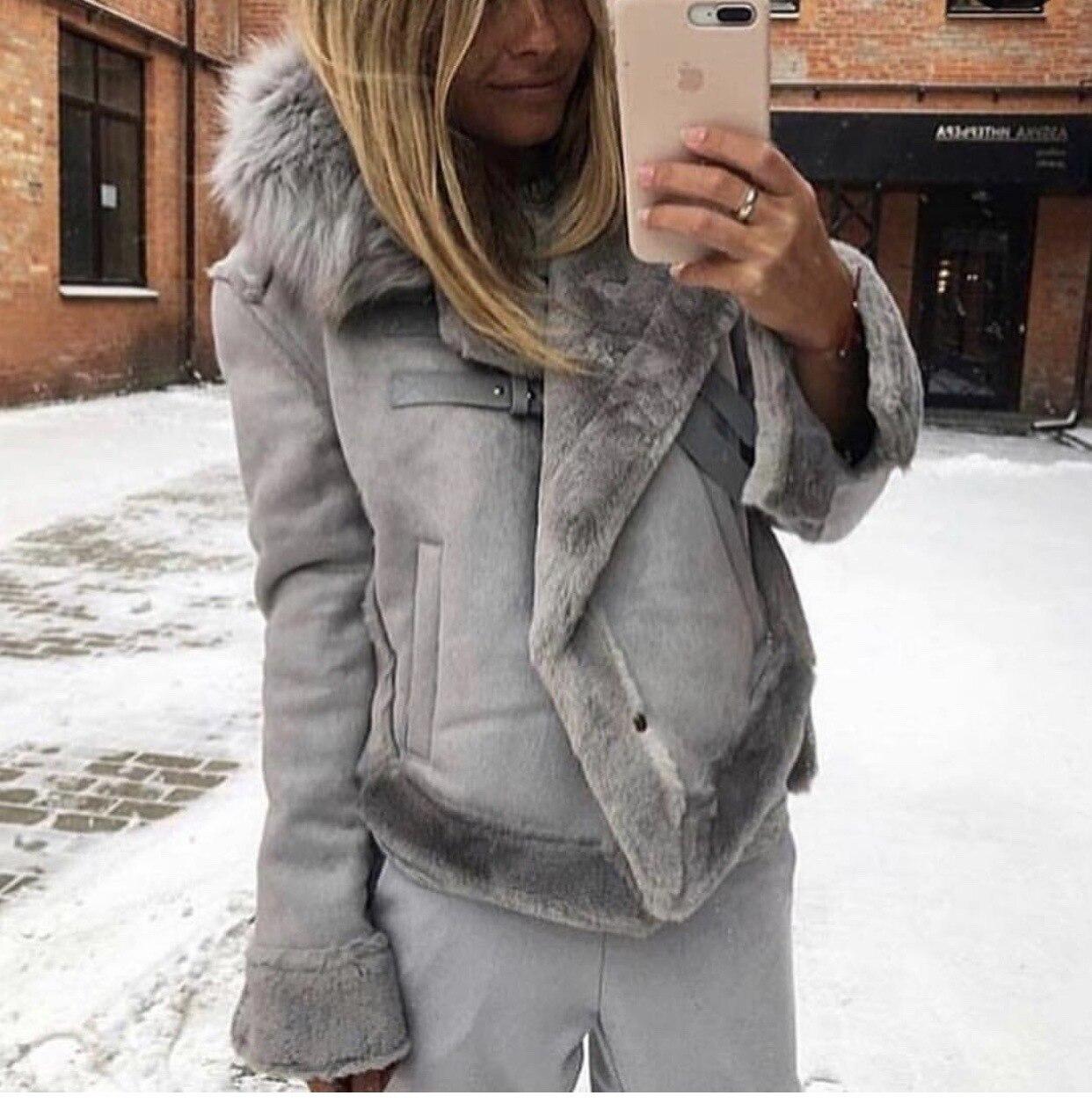2019 Winter Women Jacket Artificial Wool Leatherette Female Wadded Coat Warm Slim Fleece Thicken Mujer Jacket Fur Neck Women Top 2