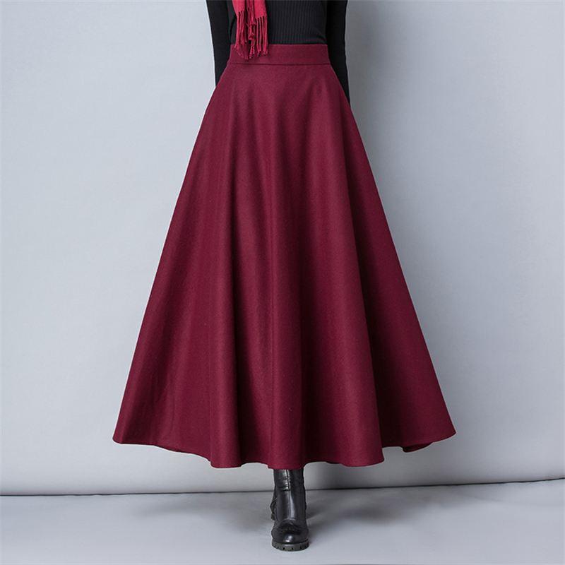 Winter Women Long Woolen Skirt Fashion High Waist Basic Wool Skirts Female Casual Thick Warm Elastic A-Line Maxi Skirts 4