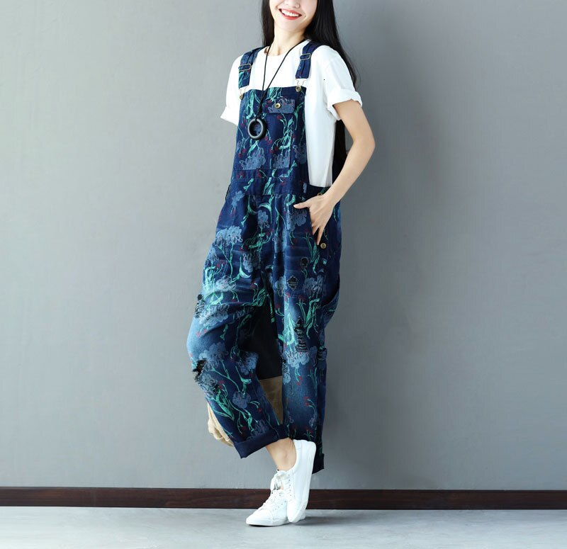 #0349 Suspender Jumpsuits Women Vintage Loose Denim Overalls For Women Sleeveless Ladies Jeans Jumpsuits Printed Fashion 4