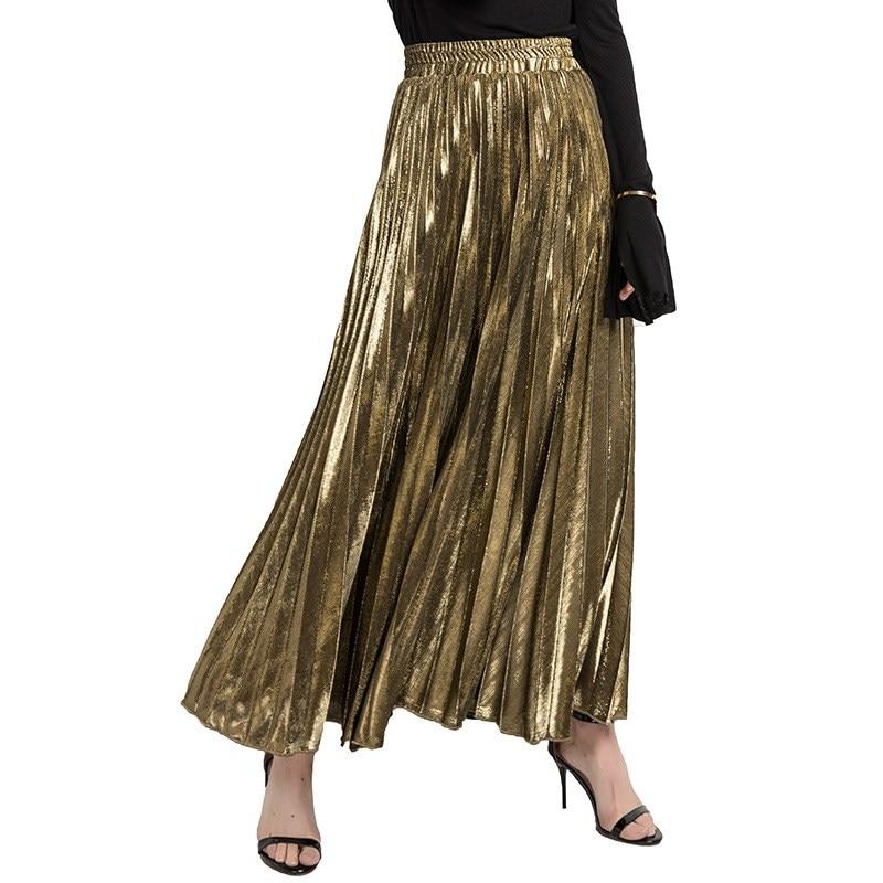 2020 Spring Women Long Skirts Fashion Brand A-Line Women Pleated Skirts High Waist Women Midi Skirt Faldas Mujer Saias 2