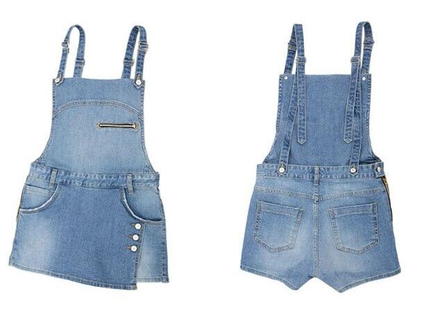 Women Denim zipper Style Casual Jumpsuit Front Flap Pocket Short Overalls Girl Washed Jeans Jumpsuit Romper 2