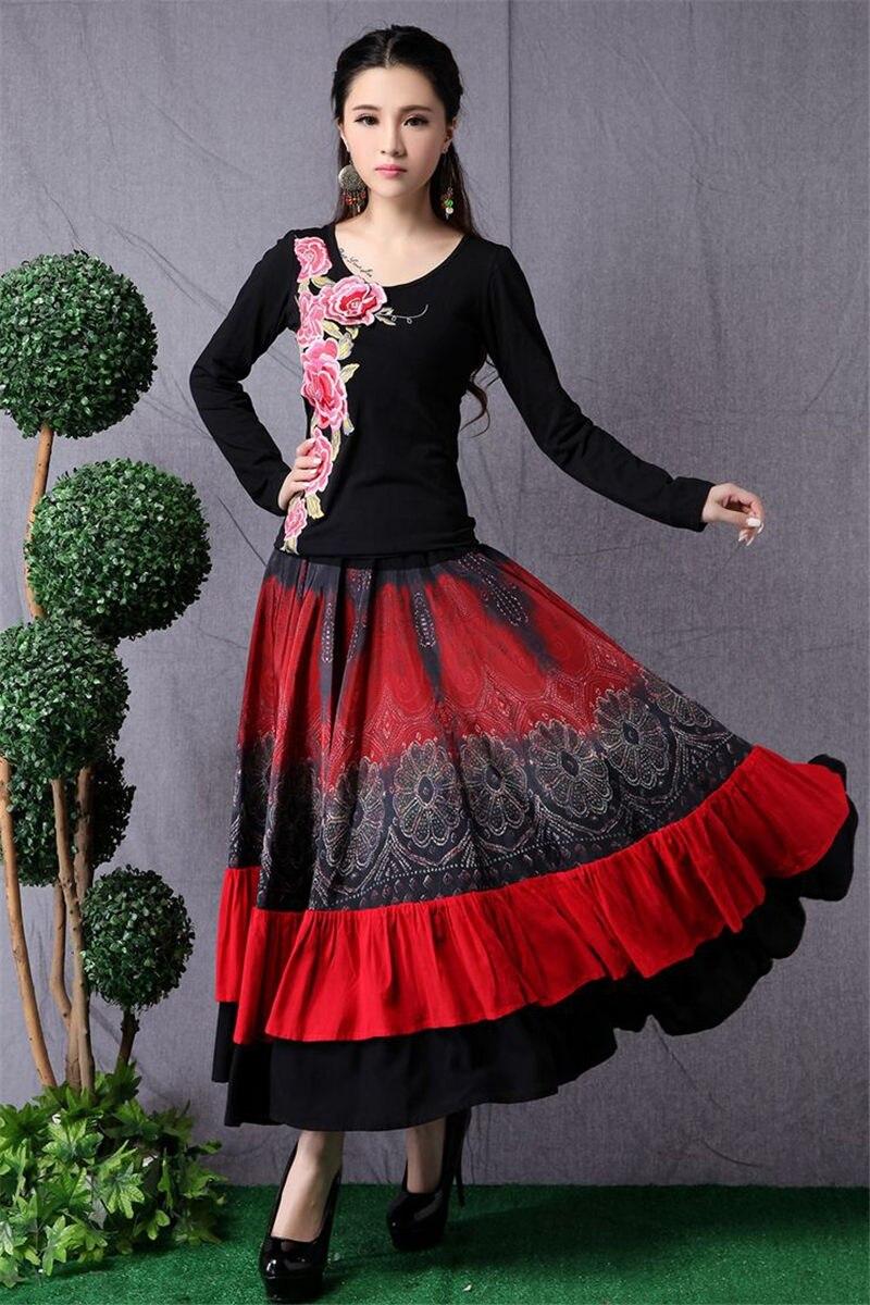 Ethnic Style Women's Long Skirt Stitching Fashion Elastic Waist Skirt Retro Large Size Dance Skirt Women Saia Mujer Faldas f2682 3