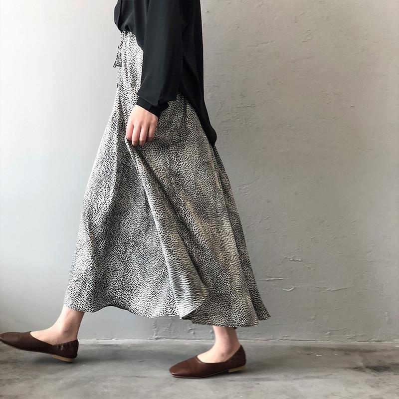 Mooirue Summer 2019 Femme Jupe Retro Gray Leopard Satin Thin High A-line Fit Women Long Skirts 1