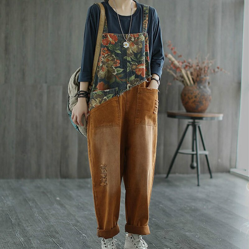 Max LuLu New Chinese Designer Ladies Floral Denim Trousers Womens Vintage Printed Jeans Casual Loose Ripped Oversized Overalls 4