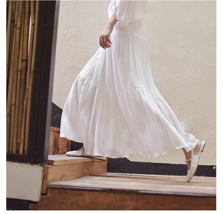 2019 Bohemian Women Stretch High Waist Solid Long Cotton Skirts Womens Boho Maxi Skirt Saia Longa Faldas Women Long Skirt 3