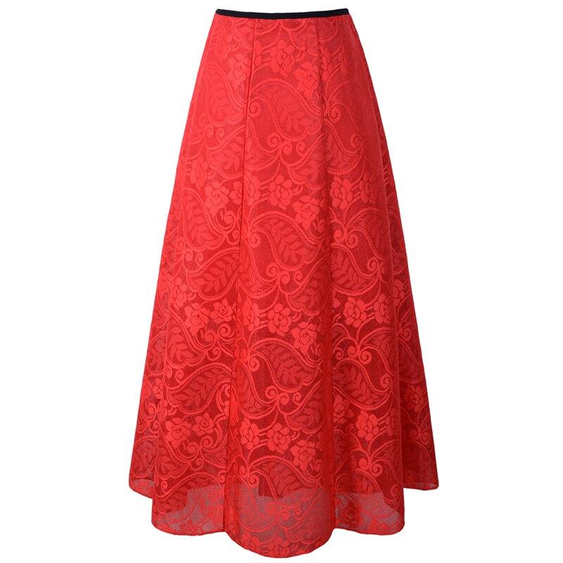 Neophil 2020 Vintage Ladies Floral Lace Mesh Women Long Skirts Muslim Maxi 100cm High Waist Pleated Print Boho Longa Saia MS1607 1