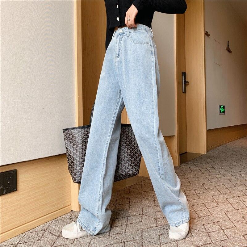 High Waist Mom Gloria Plus Size Denim boyfriend Jeans For Women Streetwear Straight Jean Femme Blue Cargo Pants Wide Pants 2