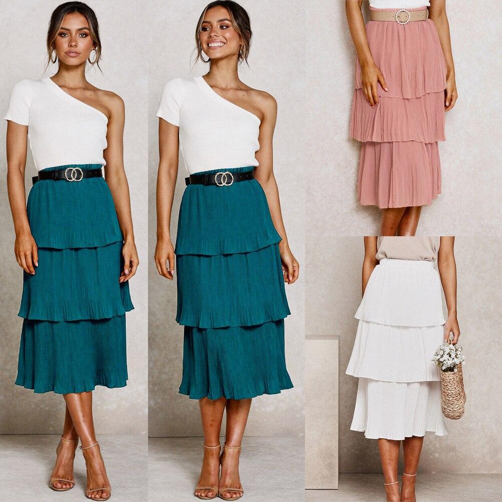 Women 3 Layered Long Skirt Pink White Korean Style Skirts Womens Summer Pleated Skirt Chiffon Layer Cake Sun Skirt Female