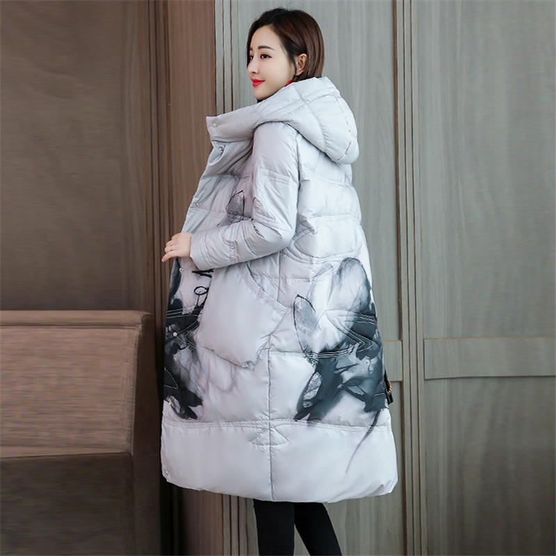 2020 New Winter Women Print Down jacket white duck down Loose Warm Chinese style down Coat Fashion Casual Hooded Parka W124 4