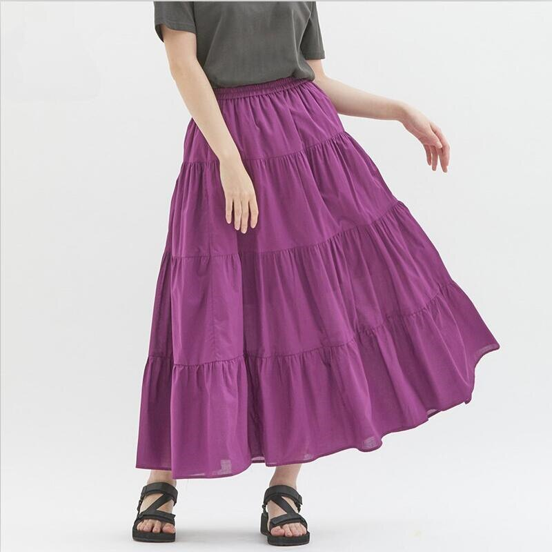 Candy Color Solid Women Long Skirts Sweet Girl Comfortable Loose Cotton Skirts Hot Sell High Street Skirts Plus Size 6XL 7XL