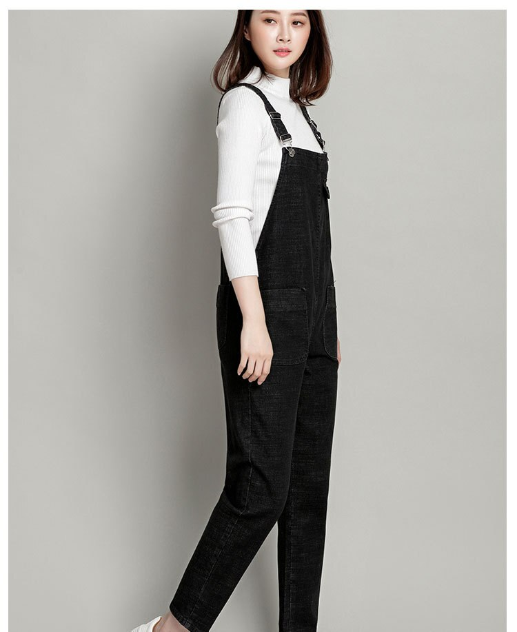 New Spring Autumn Fashion Brand Plus Size L-6XL Jeans Loose Casual Full Length Overalls Big Size Denim Pants Woman Jumpsuits D28 2
