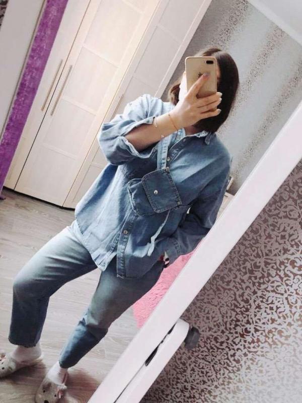 Vintage Sashes Slim Waist Jeans Coat Wome