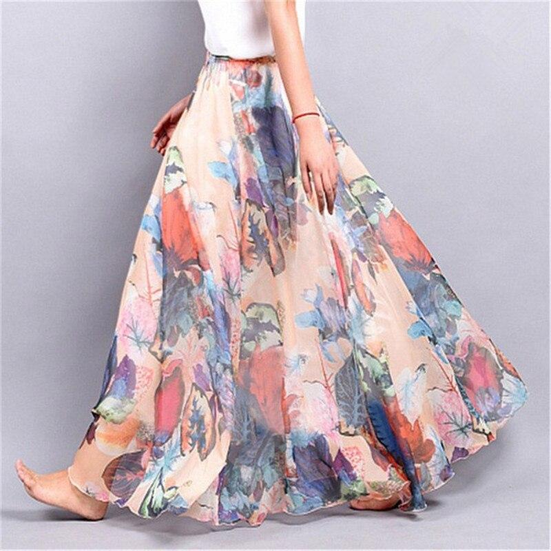 Elegant Summer Bohemian Maxi Skirts Women Long Skirt Chiffon Saia Beach High Waist Tutu Casual Vestidos Harajuku Print Clothes