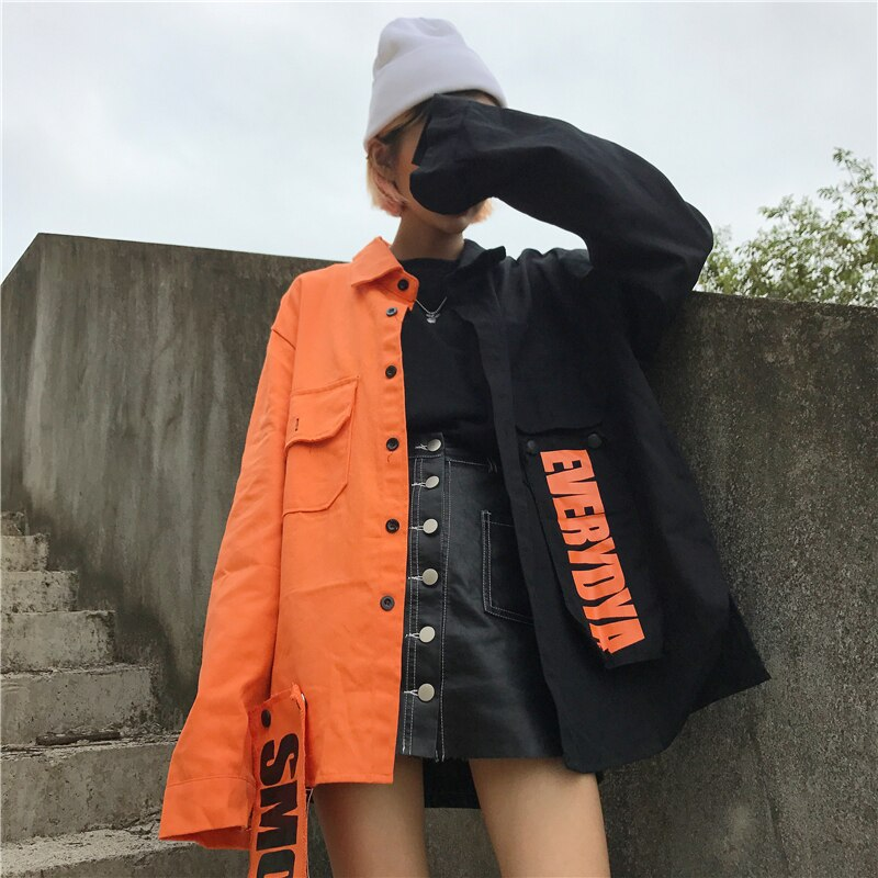 2020 Spring streetwear New loose Patchwork women jacket Harajuku letter plus size coat female top BF Style Jackets New NZY116 2
