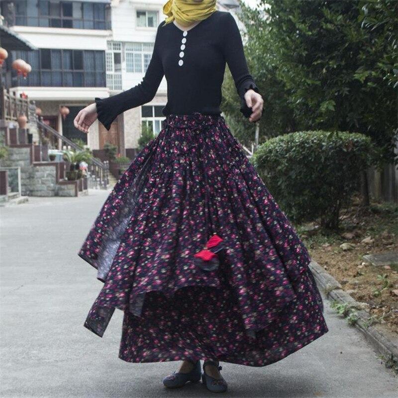 Women Ethnic style cotton linen Long Skirts Elastic Waist Floral print Maxi Skirts Vintage autumn winter Female irregular Skirts 2